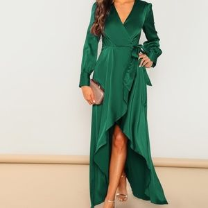 Holiday Green Wrap Dress